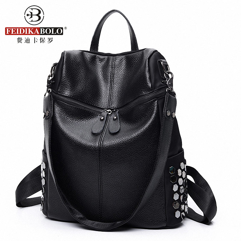 Brand Women Leather Rivet Backpack Korean Style Designer Black Bookbag Mochila Mujer De Couro Feminina Back Pack<br><br>Aliexpress