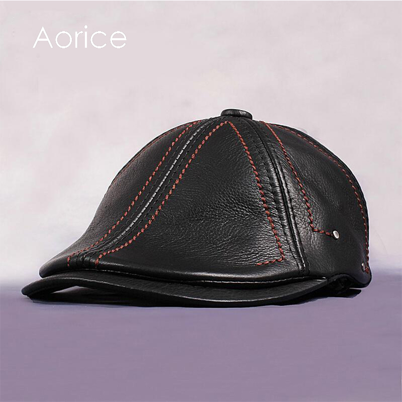 HL063 Men Genuine Leather Newsboy Hat Cap Gatsby Flat Golf Cabbie Baker Beret Retro<br>