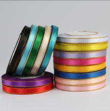 "Free shipping (25 yards/ roll) 3/8"" 10mm Gold Edged Satin Ribbon Webbing Wedding Party Festive Decaration Gift Christmas Ribbon"