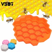 Honey Comb Honey Mold Silicone Cake Pan Comb Bees Soap Mould 19 Cell Beeswax Ice Jelly DIY Cake Bakeware Decoration