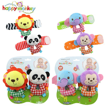 Baby Toy 0-12 Month Infant Socks Bug Wrist Strap Band Soft Kawaii Stuffed Plush Animal Rattle Cot Moblie Doll For Newborn Babies(China)