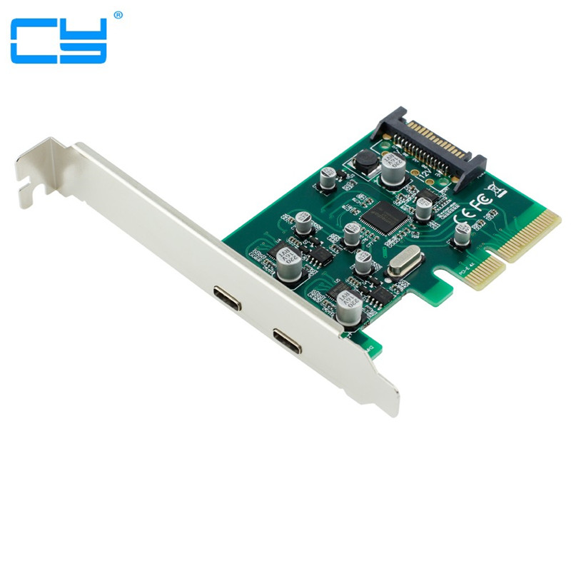 2 portas USB-C USB 3.1 Tipo-C Cartao + PCIe PCI express low profile bracket Tipo C adaptadorSuperSpeed pci-e 4x a usb3.1 10 Gbps<br>