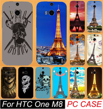 Best Selling Eiffel Tower Series Cool Skull Hood Cases For HTC One M8 Cell Phone Case Cover Shell Capa Carcase Free Shipping