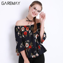 Women's Summer Blouses Off shoulder Tops Female White Chiffon Body Femme Ruffle Blouse And Shirts Floral For Women GAREMAY