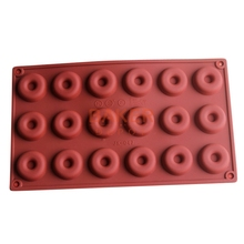 silicone bakeware moulds 18 mini donuts chocolate mould biscuit cake molds SCM-001-1(China)