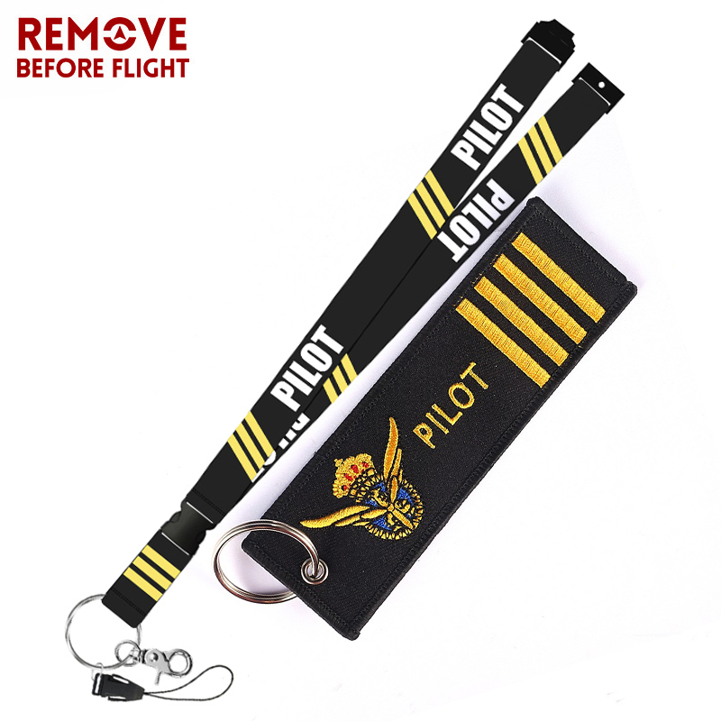 Remove Before Flight Fashion Jewelry Mixed Key Chain Safety Tag Embroidery Pilot Lanyard  for Key Ring Chain Aviation Gifts (6)