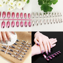 24pcs Plate Matt Bright Rose Gold Silver Red Mirror Metal Nail Art Decoration Polish Gel False Fake Full Nails Tips Sticker(China)