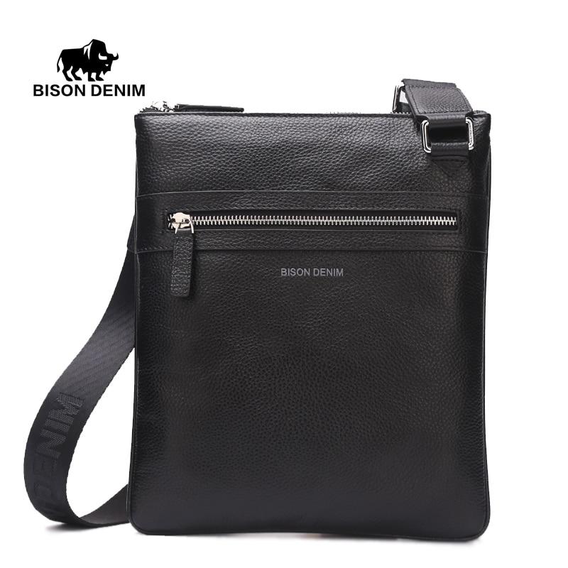 BISON DENIM Brand Cow Skin Genuine Leather Crossbody Bag Slim Male Shoulder Bag Business Travel iPad Bag Men Messenger Bags 2424<br>