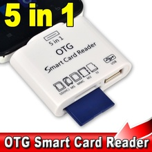 5 in 1 Micro USB V8 OTG Smart Card Reader Adapter for SD MS MMC M2 TF Card Connection Kit for S2 S3 S4 Android Phones
