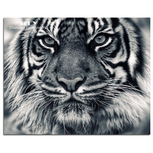 Diamond embroidery animal tiger black and white diamond painting cross stitch big tiger head picture of the diamonds mosaic kits