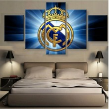5 Panel Canvas Printed La Liga Real Madrid Painting For Living Picture Wall Art HD Print Decor Modern Artworks Football Poster