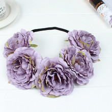 New Stylish Fashion Ribbon Rose Flower Headbands Garland Hair Band Hair Accessories Prom Head Wrap Girls Hairband for gift