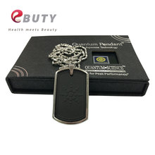 Fashion Pendant Energy Quantum Scalar Charms With Stainless Steel Chain Lava Tourmaline Stone with Gift Box Japanese Technology(China)