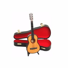 Wooden 1:12 Miniature Guitar Mini Acoustic Musical Bass Instrument Ornaments Dollhouse Case Electric Model Toys Accessories(China)