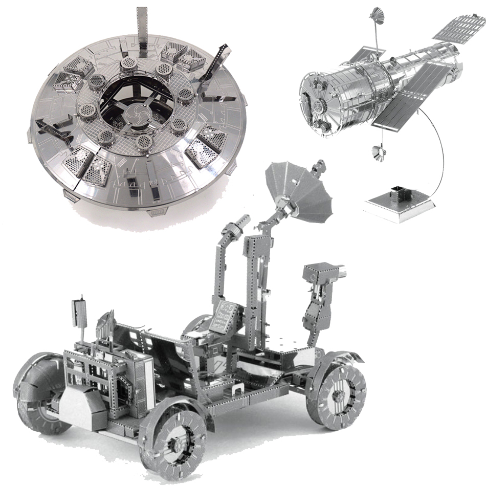 New HUBBLE TELESCOPE Toys Appollo Lunar Rover For Children 3D Metal Puzzle DIY Kids Toys Model Retail Wholesale Nano Puzzles(China (Mainland))