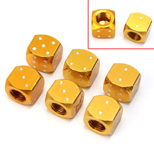 1Pair Wheel Stem Tyre Air Valve Dustproof Cap Dice Tire Tyre Gold Aluminum Auto Valve Caps Bike MTB Truck Tire Valve Dust Cap