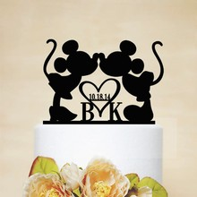 Wedding Personalized Acrylic Carton Cake Topper Engagement Party Custom Wood Cake Stand Top Decorating Valentine's Day Gift(China)
