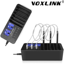 VOXLINK 6 Port Muilt-USB Desktop Quick 2.0 Fast Charging Docking Station with 2 AC Outlets for iPhone iPad Tablet Android Laptop