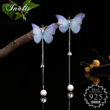 INALIS Butterfly Women Long Drop Earrings Jewelry Pearl Pendant Brincos Accessories 925 Sterling Silver Pendientes Wholesale(China)