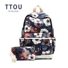TTOU Printing Backpack Flowers Canvas Backpack Student School Bag Graffiti Backpack for Teenage Girls Fashion Travel Bags(China)