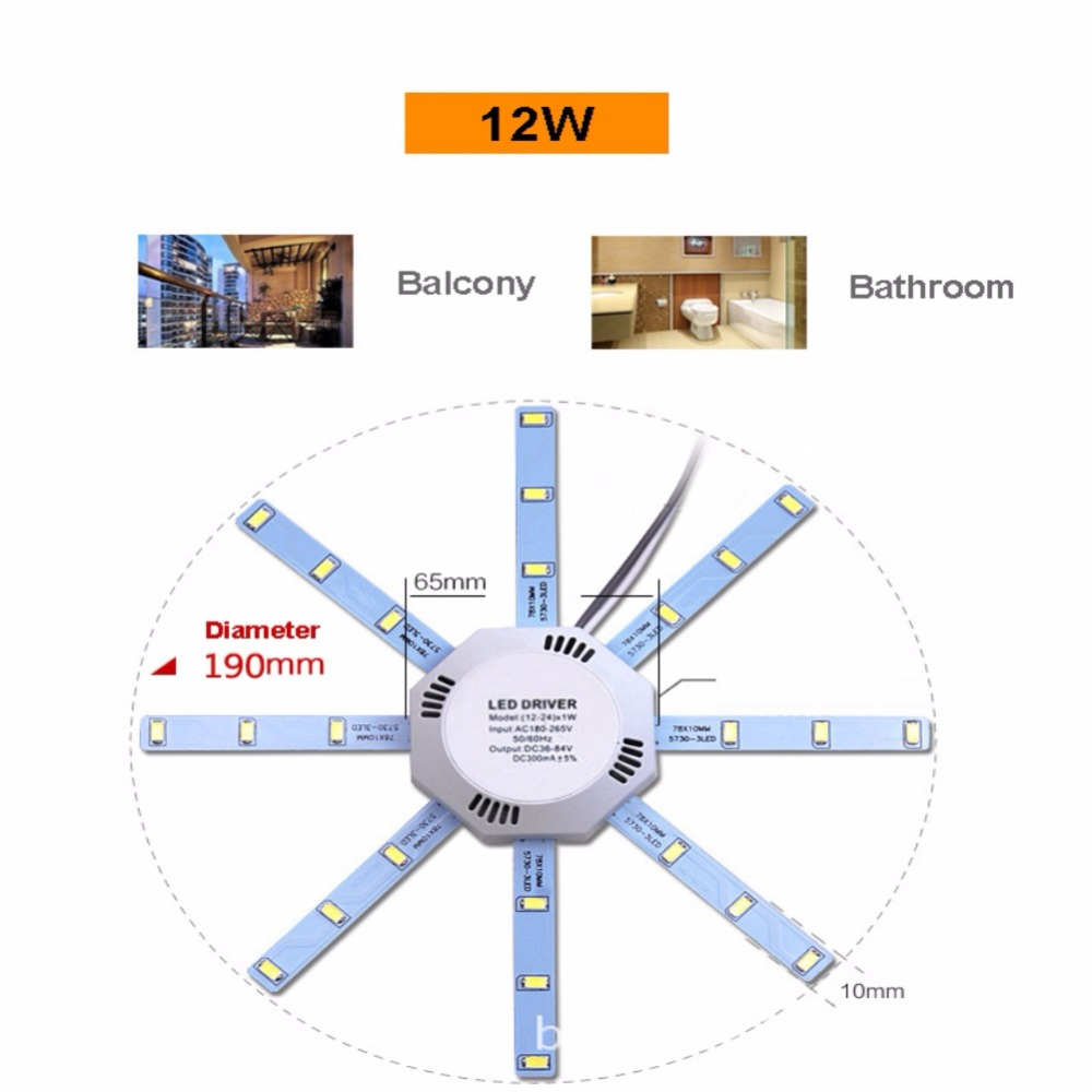 Ac220v Led Octopus Ceiling Lamp 5760 Smd White Light 12w 16w 20w 24w Circuit Boardenergy Saving Boardled Board 5730 Energy Pcb Modified Source 220v