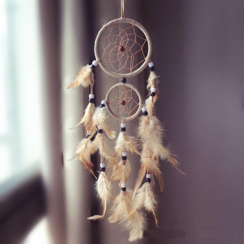 Attrape rêves Artisanal décoratifs plumes décoration intérieur capteur de rêves indien culture amérindiennes idées déco Dreamcatcher Blanc