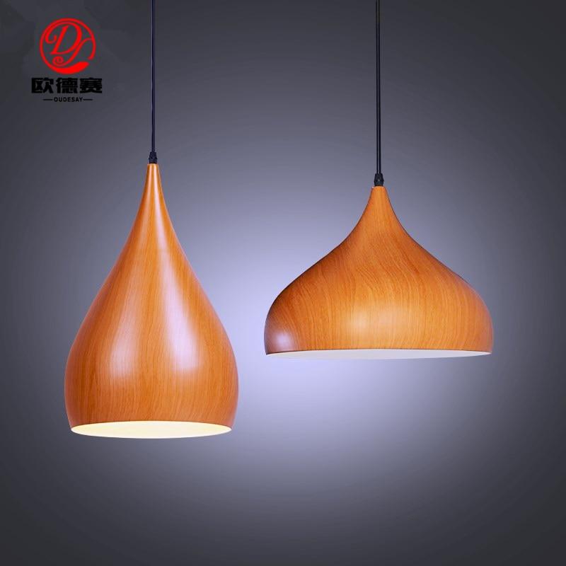 Simple led restaurant lighting clothing store bar cafe coffee shop high imitation wood grain single head aluminum chandeliers<br>