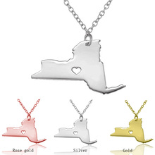 SUTETI Boutique Unique Design New York State Pendant Necklace Wholesale Women/Men Stainless Steel USA Map Statement Necklaces(China)