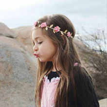 1PC Lovely Girl Boy Rose Flower Wreath Crown Headband Floral Garlands Headdress Hairband Hair Band Accessories