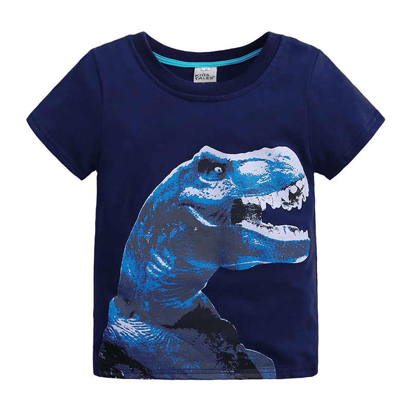 Short Sleeve dinosaur animal print t shirt tops for kids boy summer clothes 2019 cotton tshirt tee Children costume T-shirt blue