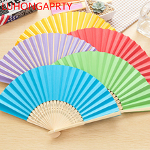 DHL Free Shipping 100pcs Wedding Party Favors Gift Paper Fan Hand Colorful Folding Fans Party Favors LUHONGPARTY(China)