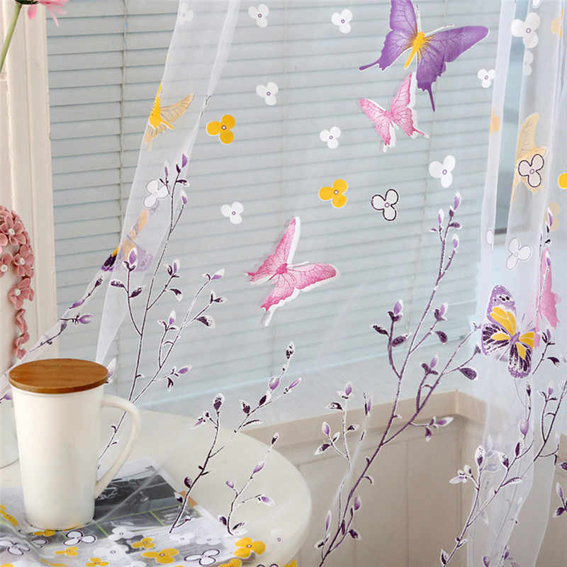 2017 1pcs Butterfly Branches Printed Tulle Curtains for Living Room  Indoor Window Screening Decor Balcony Burnout Voile Curtain