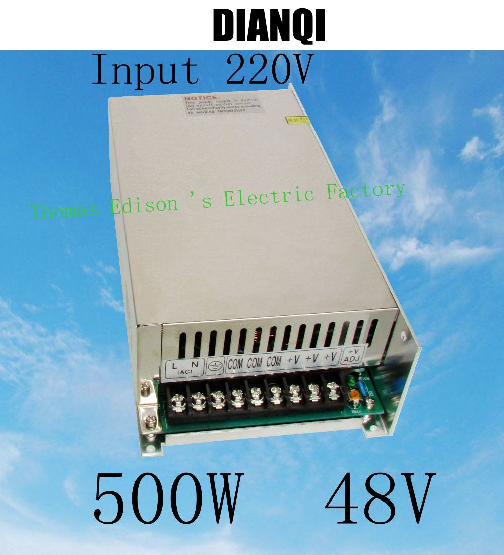 led power supply switch 500W  48v  8.3A ac dc converter input 220v  or 110V variable dc voltage regulator led driver S-500-48<br>