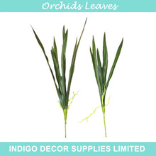 INDIGO- 5 Pieces Long Orchids Leaves Grass Real Touch Green Leaves Table Decoration Artificial  Branches Greenery Free Shipping