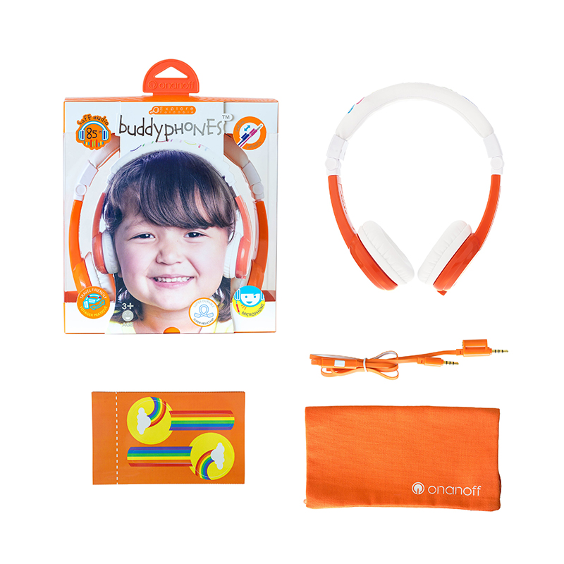ONANOFF BuddyPhones Explore Foldable Professional Kids Volume Limited Headphones With Mic For Phones Learning Apps Wired Headset<br>