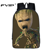 FVIP 16 Inch Guardians of The Galaxy Backpack Anime Groot School Bags for Young Student Travel Bagpacks Mochila Bolsas Escolar