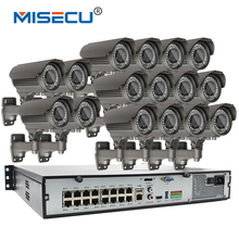 16CH POE KIT New Onvif 1080P NVR Real POE 48V 2MP 16p POE 2.8-12mm Zoom Camera module IP IR Night Waterproof  P2P IP cctv system