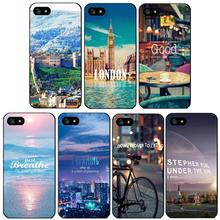 2016 phone cases cover for Apple iPhone 4 4s 5 5s 5c case trendy urban landscape aesthetic design black plastic hard shell
