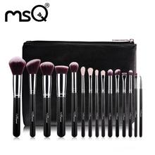 MSQ 15pcs Pro Makeup Brushes Set Foundation Eye Blusher Make Up Brushes Kit High Quality Synthetic Hair With PU Leather Case