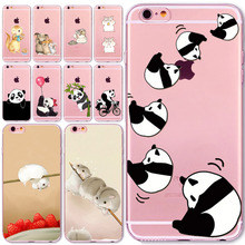 Lovely New Year Cat Soft Phone Cover Case For iPhone 6 6S 7 5 5S SE 7plus 6Plus 6SPlus 4S Present Hamster Panda Animal Celular(China)
