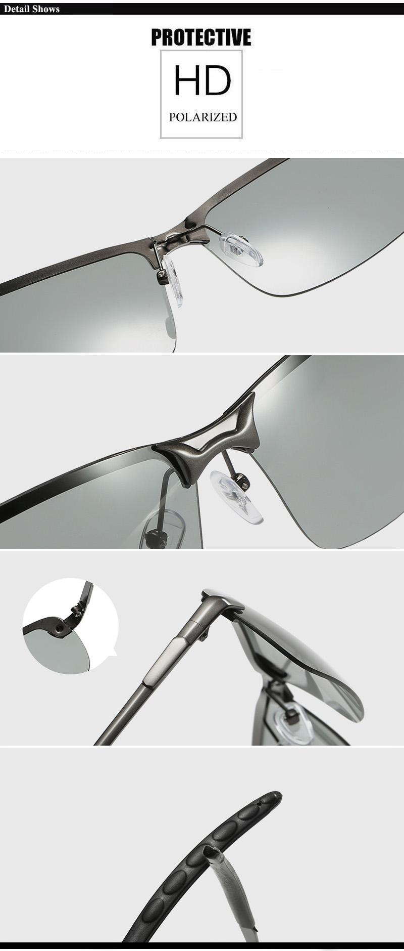 RoShari New photochromic Sunglasses men top quality All-weather Discoloration Professional driving Sun glasses men oculos D3043 10