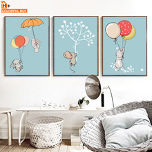 COLORFULBOY Rabbit Balloon Wall Art Canvas Print Watercolor Poster For Kids Room Canvas Painting Wall Pictures Baby Room Decor(China)