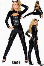 2015 Hot Selling Cat Costume Sexy Latex Cat Suit Shiny Party Fashion Girl Lady Unique Wear Cat Women Costume