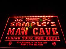 DZ035- Name Personalized Custom Man Cave Hockey Bar Beer Neon Sign hang sign home decor shop crafts(China)