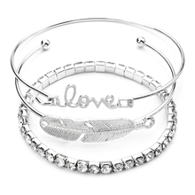 Buy 3pcs/set Vintage Silver Color Leaf Full Crystal Bracelet Bangles Set Simple Cuff Open Bangles Women Indian Jewelry 1759 for $1.09 in AliExpress store