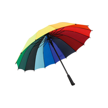 1 Pc Rainbow Umbrella Big Long Handle Straight Colorful Umbrella Female Sunny And Rainy Umbrella