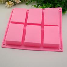 6 Cavity Plain Basic Rectangle Silicone Mould For Homemade Craft Soap Mold #XG
