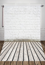 4x6ft (1.25x2m) White brick wall foor photography backdrop  Art fabric newborn pet vintage photography background D-917