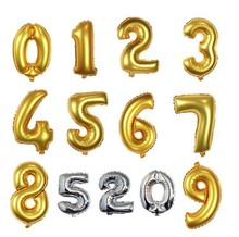 16inch 40cm slivery golden number 0 to 9 option foil mylar helium Balloons for Birthday wedding Party shopwindow Decoration(China)