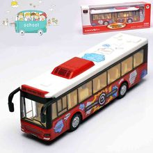 1:32 Diecast & Toy Vehicles,Alloy City Bus Toy,Metal Car Toy Model,Musical,Flashing,Pull Back,Doors Openable Bus